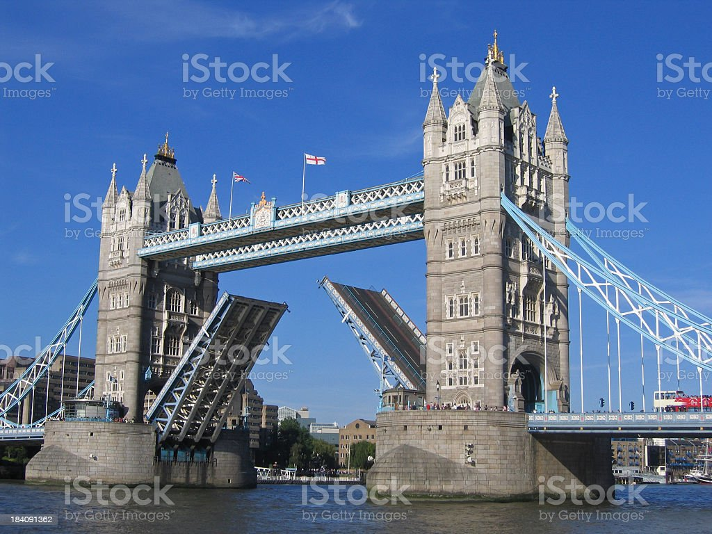 A picture of the tower bridge rising stock photo