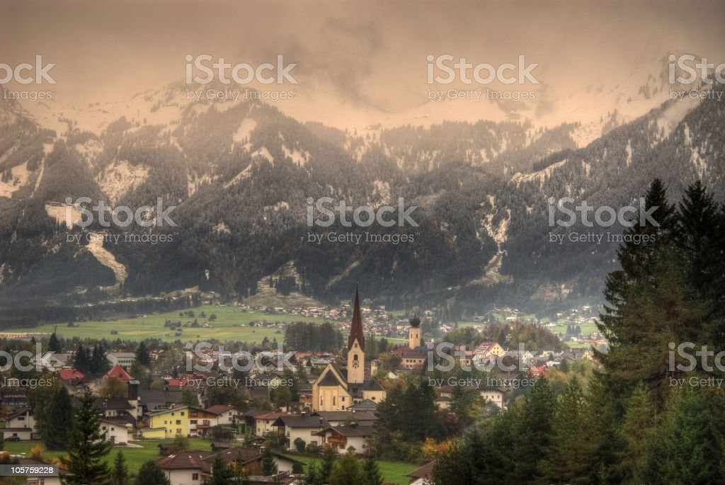 HDR Picture of the village reutte royalty-free stock photo