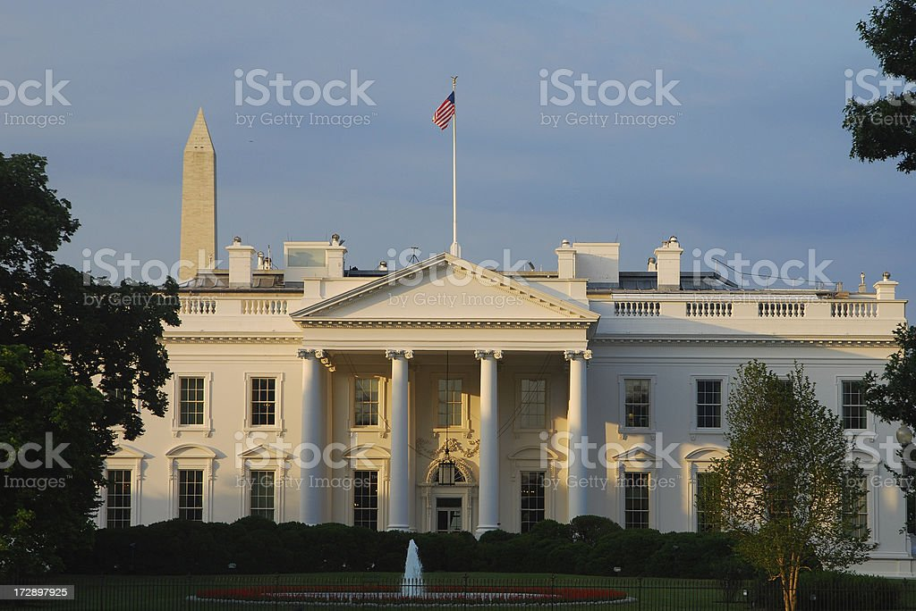A picture of The White House taken at sunrise stock photo