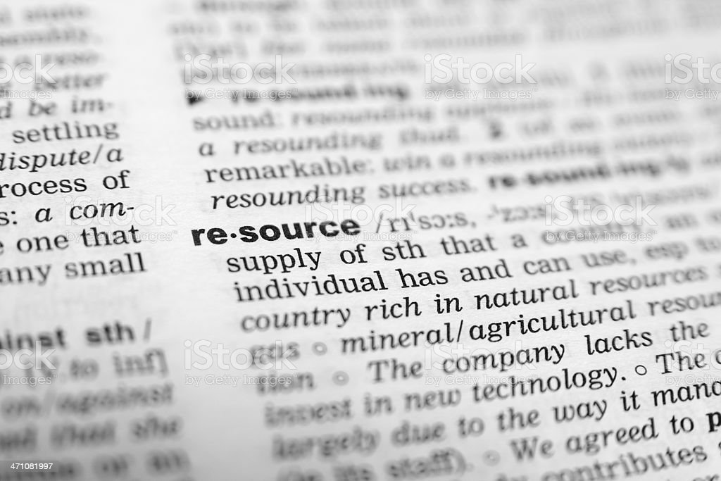Picture of the word 'resource' royalty-free stock photo