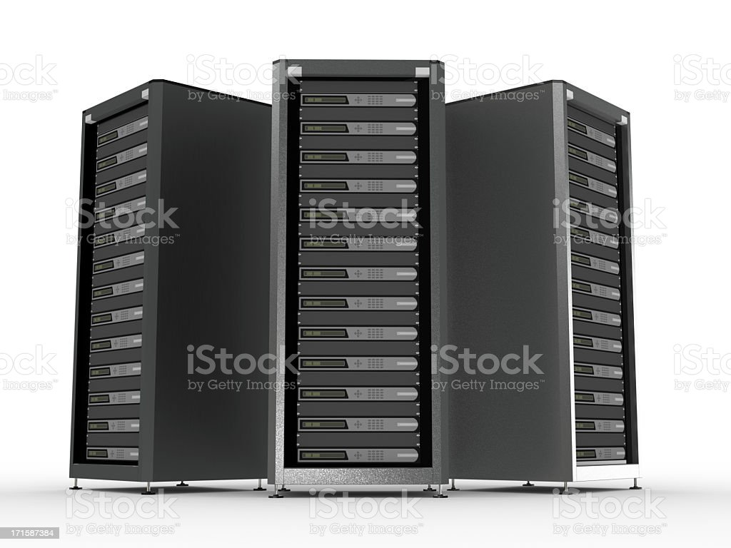 A picture of three high performance servers stock photo
