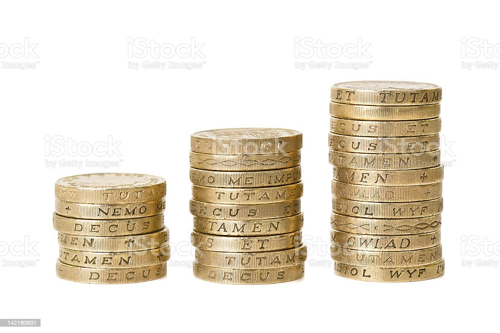 Picture of three piles of British pound coins stock photo