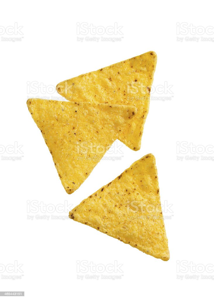 A picture of three tortilla chips stock photo