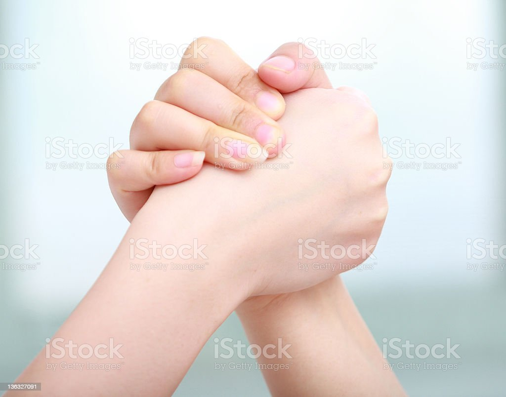 picture of two hands holding together royalty-free stock photo