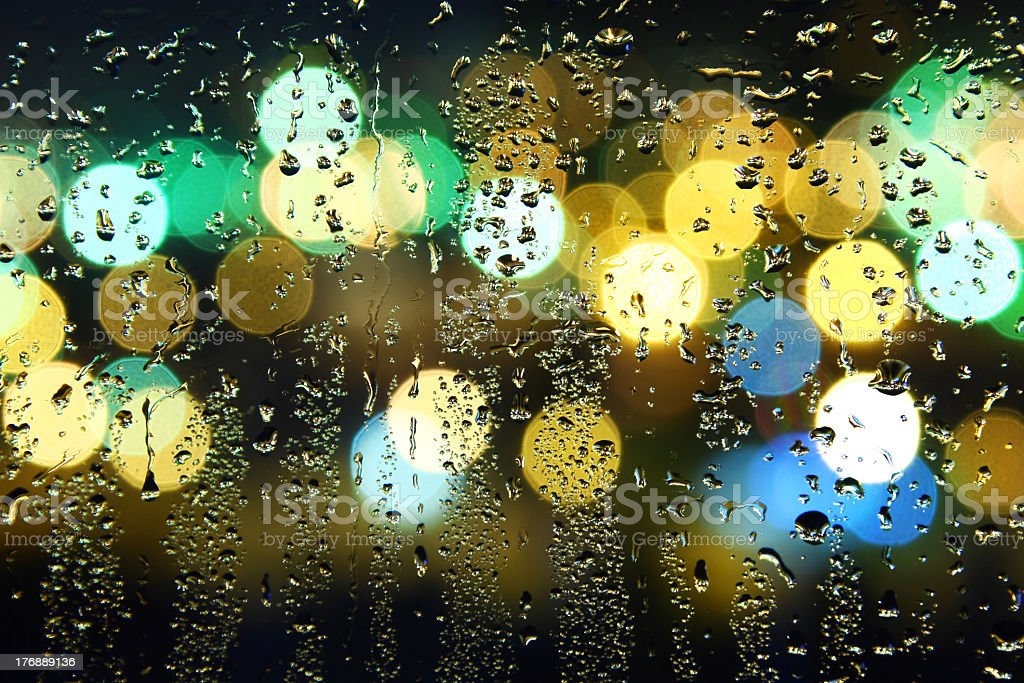 Picture of water drops on window royalty-free stock photo