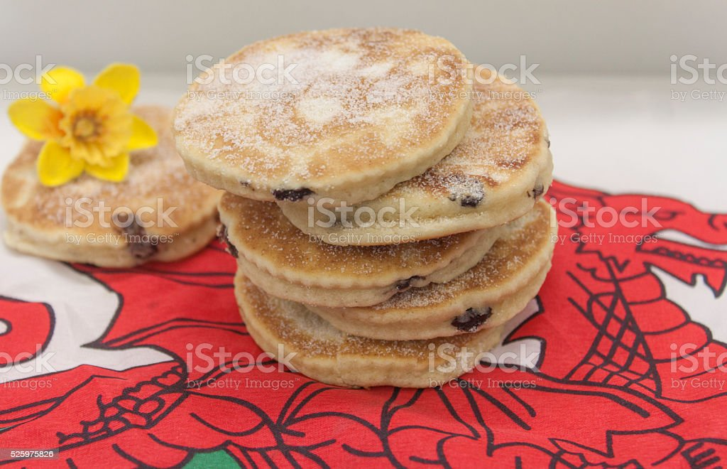 picture of welsh cakes on welsh flag stock photo
