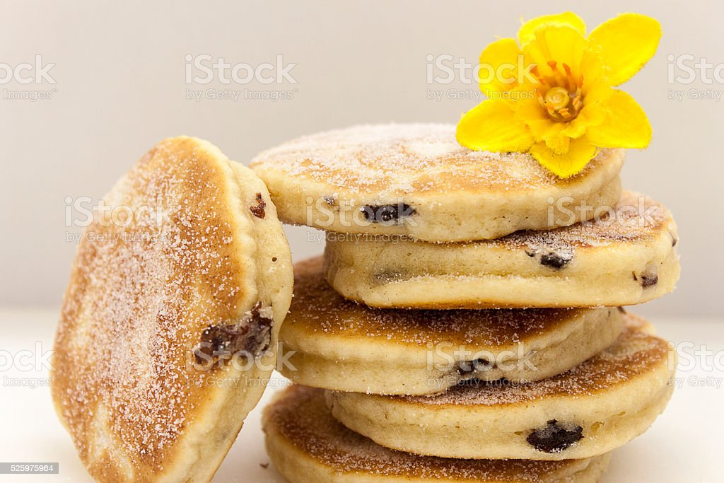 picture of welsh cakes with daffodil stock photo