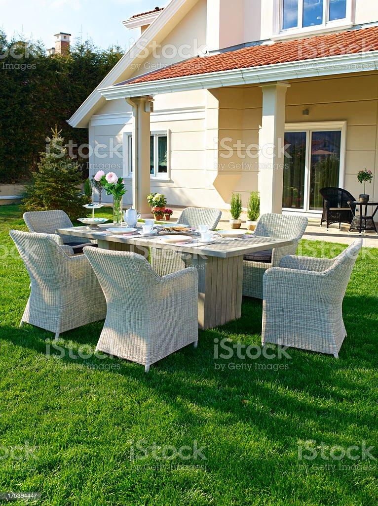 Picture of white garden furniture stock photo