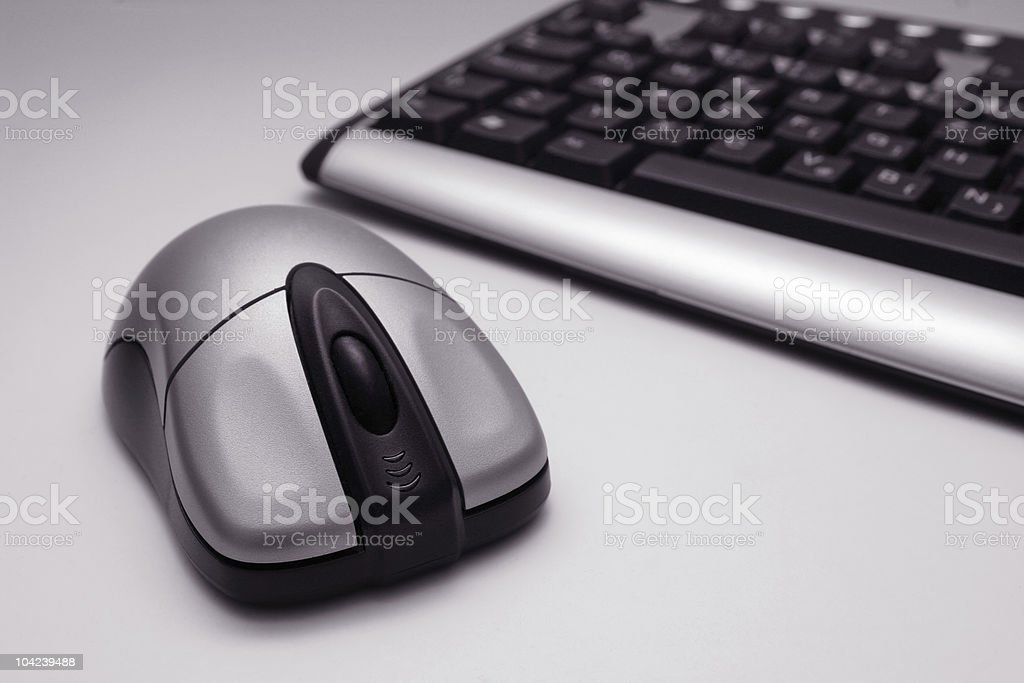 A picture of wireless mouse and keyboard royalty-free stock photo