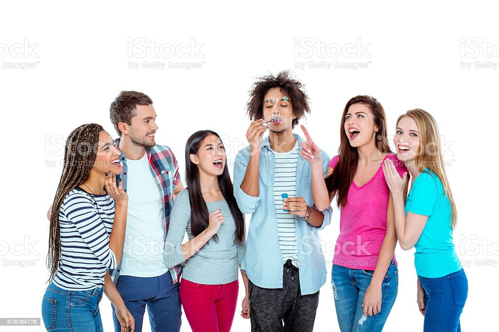Picture of young multicultural friends stock photo