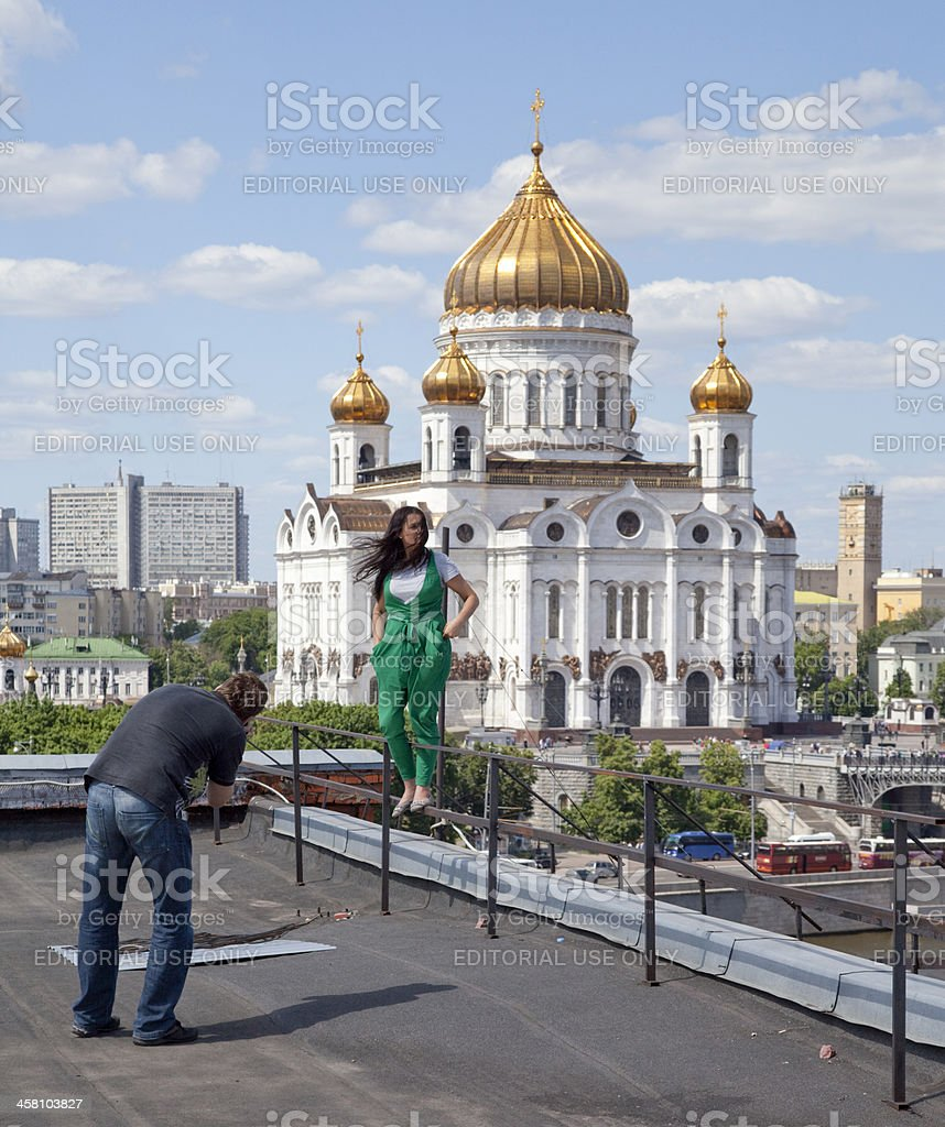 Picture on  background of Christ the Savior Cathedral royalty-free stock photo