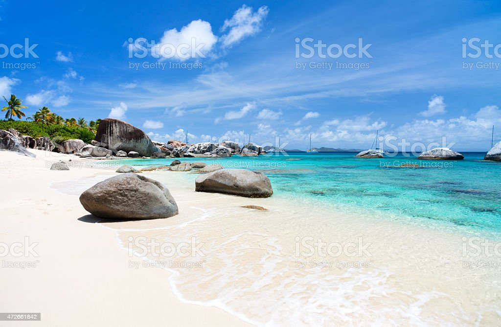 Picture perfect beach at Caribbean stock photo