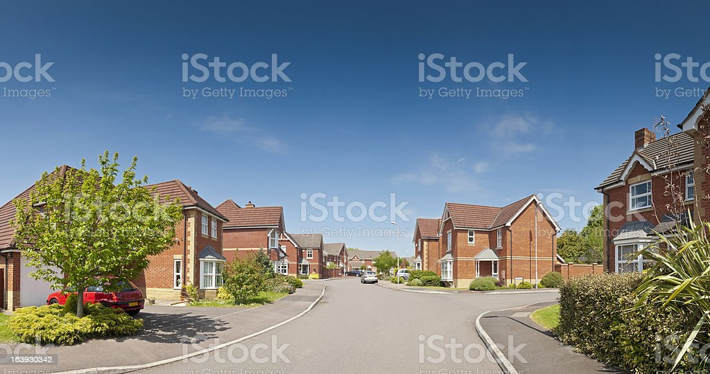 Picture perfect houses on newly built estate. stock photo