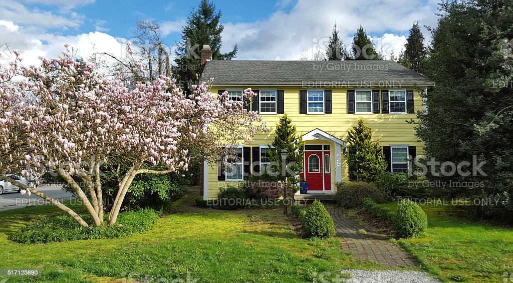 Picture Perfect Yellow House In Springtime stock photo