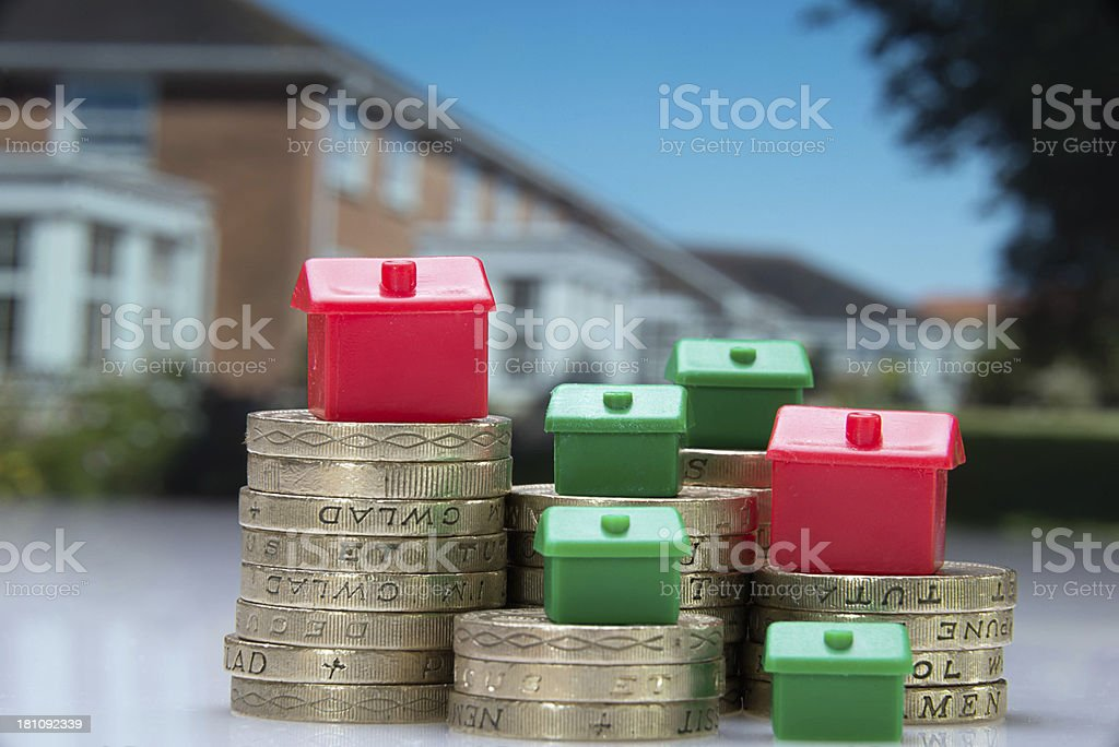 Picture representing house prices and savings and investment royalty-free stock photo