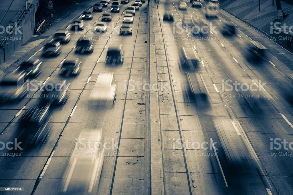 A picture showing the intensity of highway traffic  royalty-free stock photo