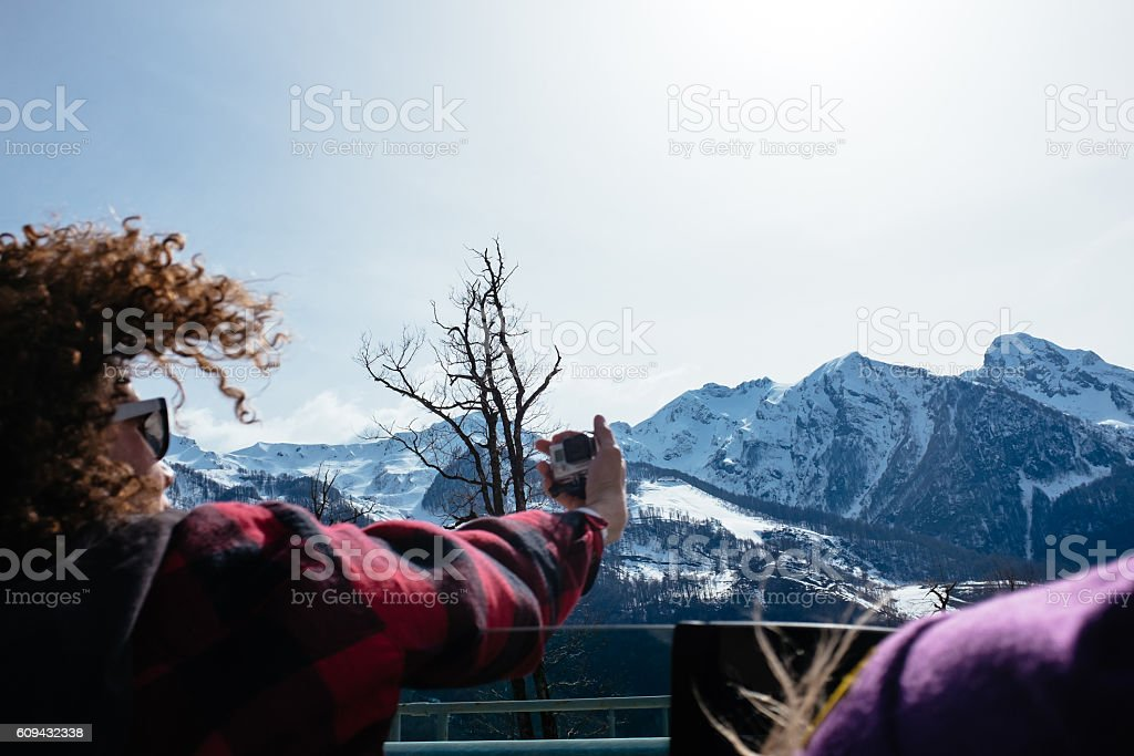 Picture with mountain stock photo