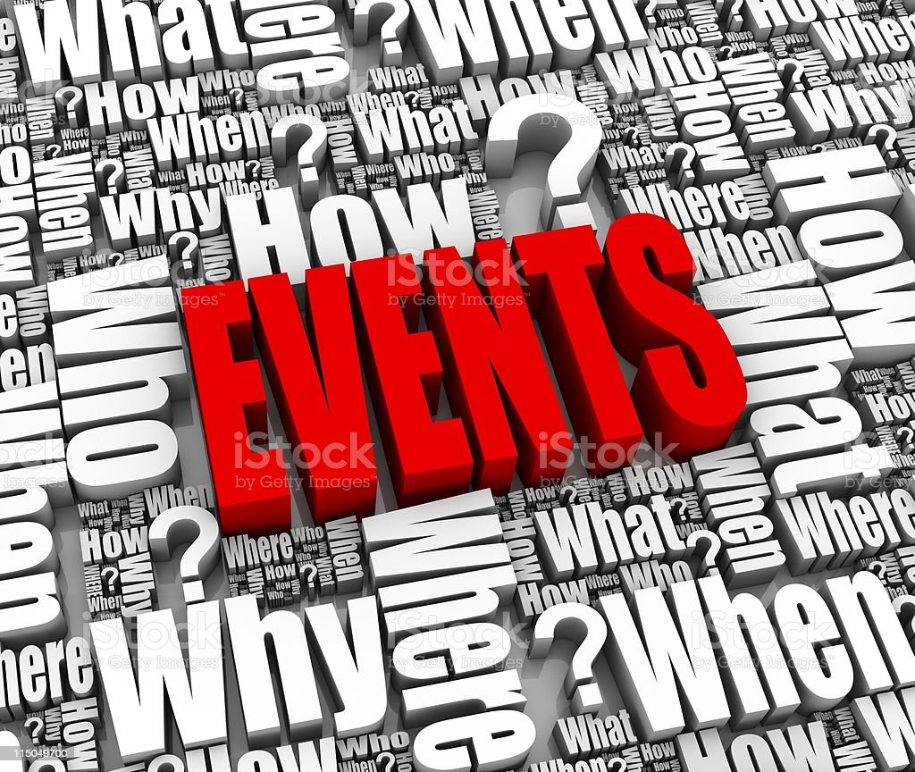 Picture with questions and events in red royalty-free stock photo