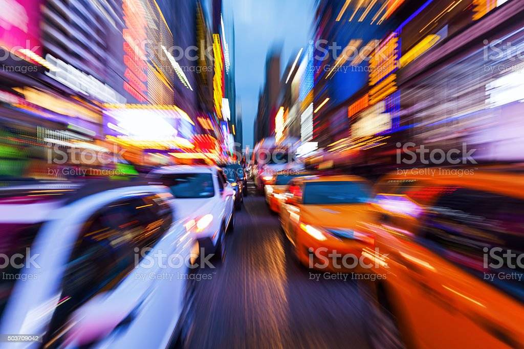 picture with zoom effect of traffic in Manhattan, NYC stock photo