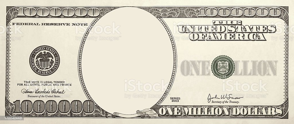 Picture yourself on your own Million Dollar Bill stock photo