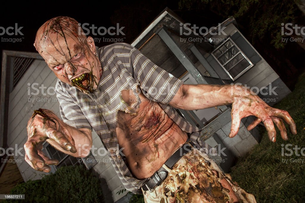 Pictures of Real Classic Zombie Outside a Old Farmhouse stock photo