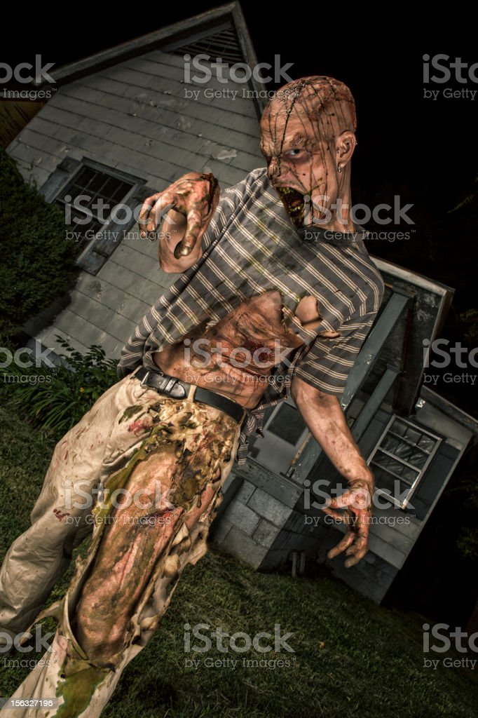 Pictures of Real Classic Zombie Outside an Old Farmhouse stock photo
