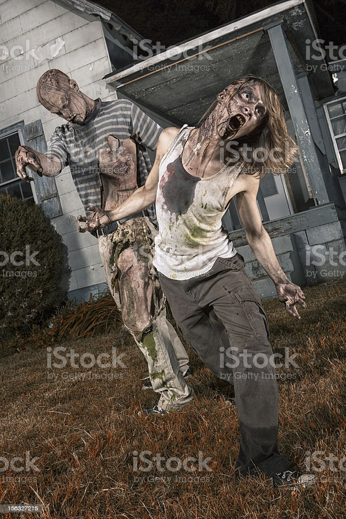 Pictures of Real Classic Zombies Outside a Old Farmhouse stock photo