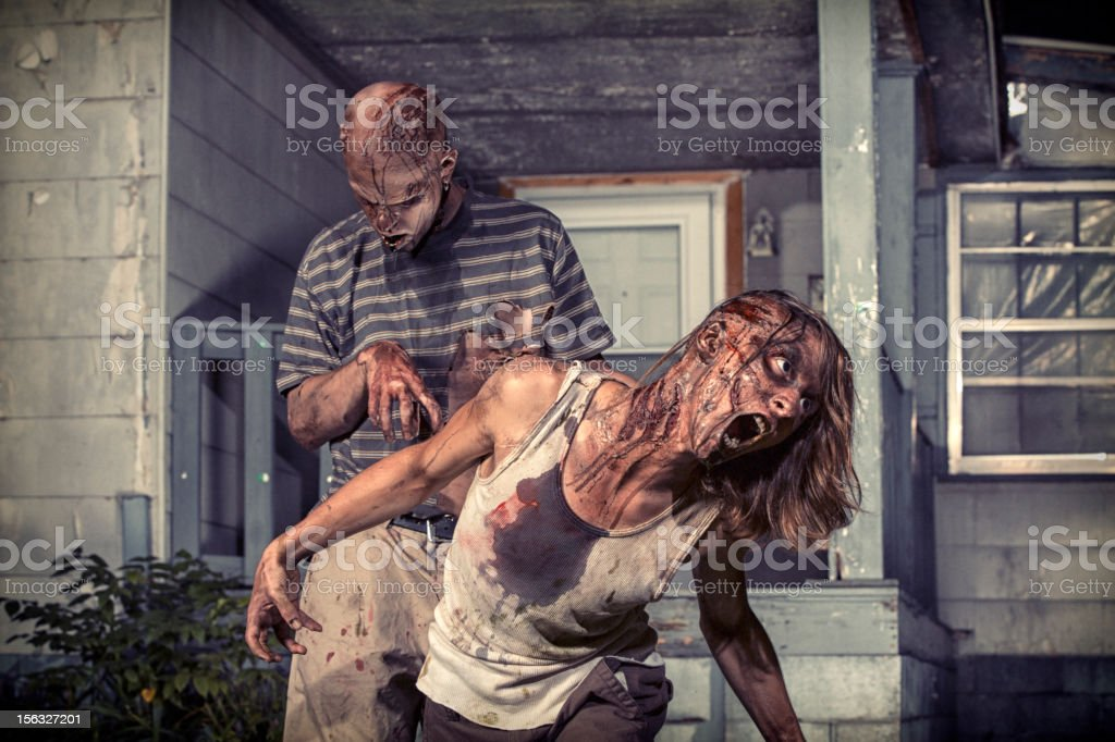 Pictures of Real Classic Zombies Outside an Old Farmhouse stock photo