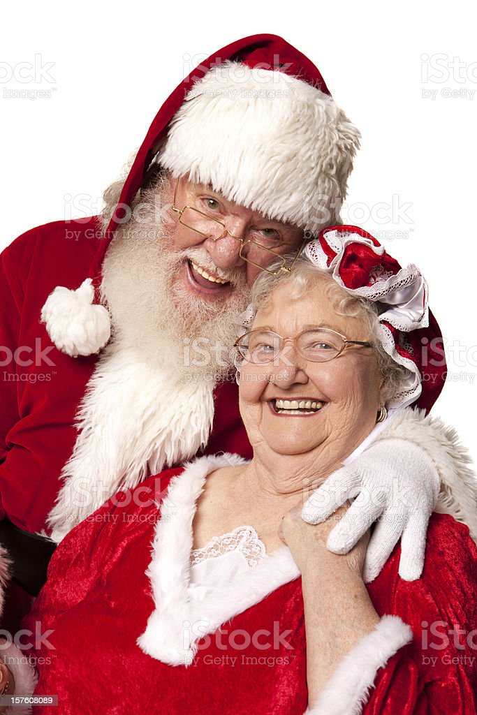 Pictures of Real Mrs. and Mr. Santa Claus stock photo