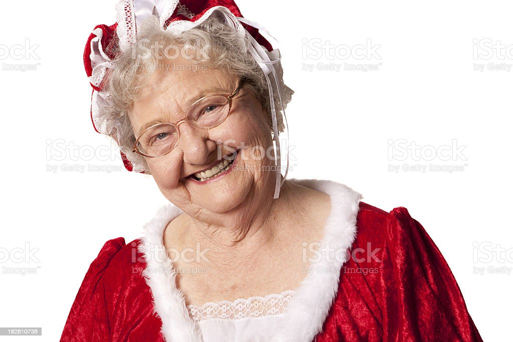 Pictures of Real Mrs. Santa Claus royalty-free stock photo