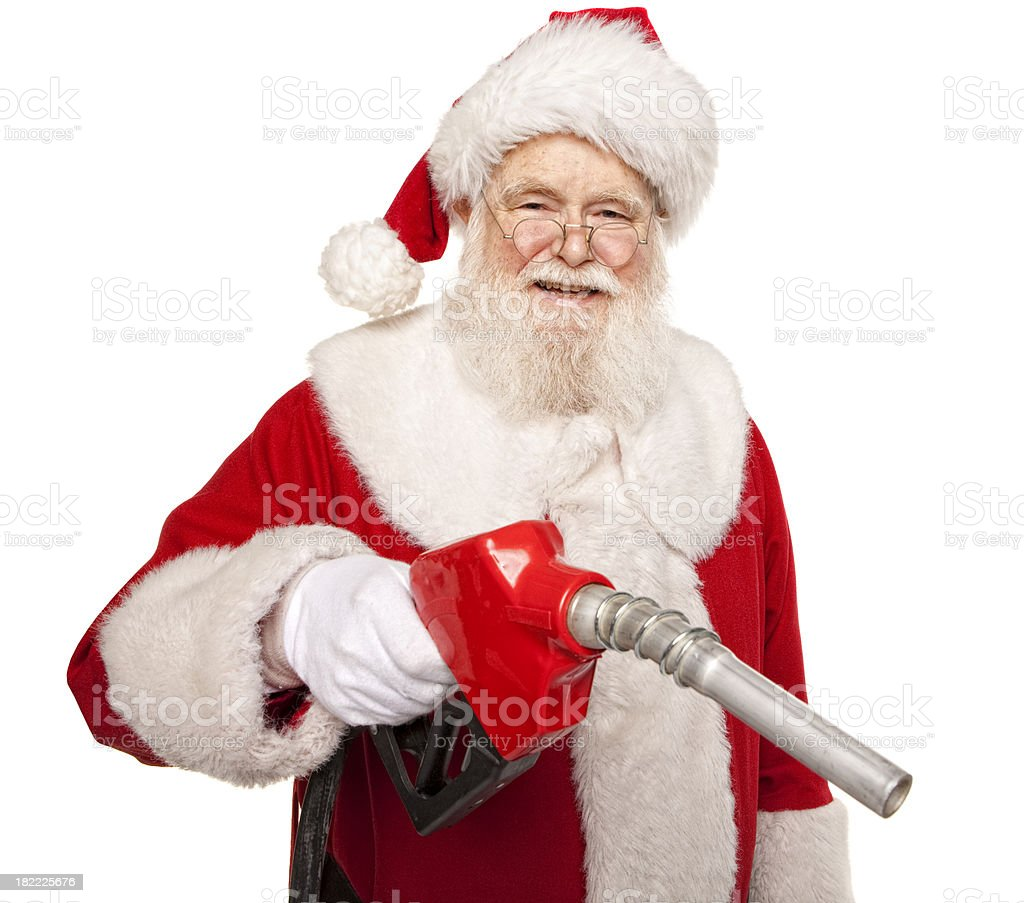 Pictures of Real Santa Claus Get Your Car Filled Up royalty-free stock photo