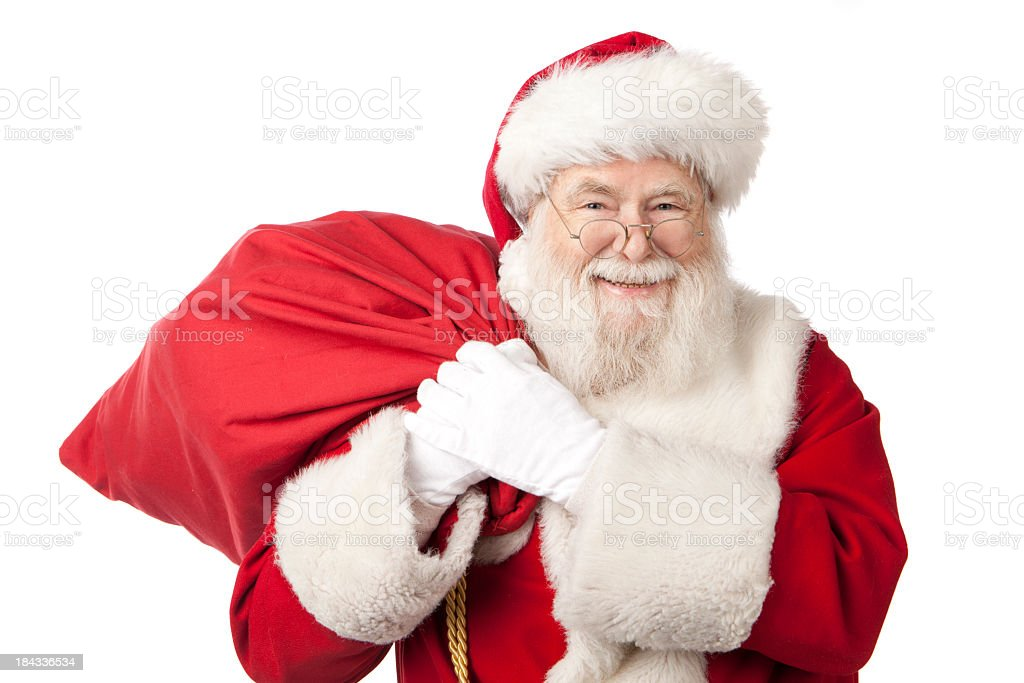 Pictures of Real Santa Claus Has A Gift Bag stock photo