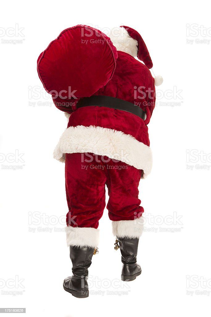 pictures of Real Santa Claus Has A Gift Bag Walking royalty-free stock photo