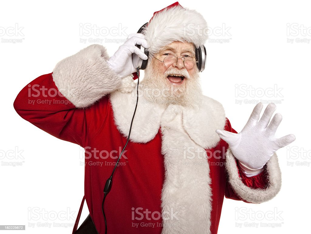 Pictures of Real Santa Claus Listening to the Music royalty-free stock photo