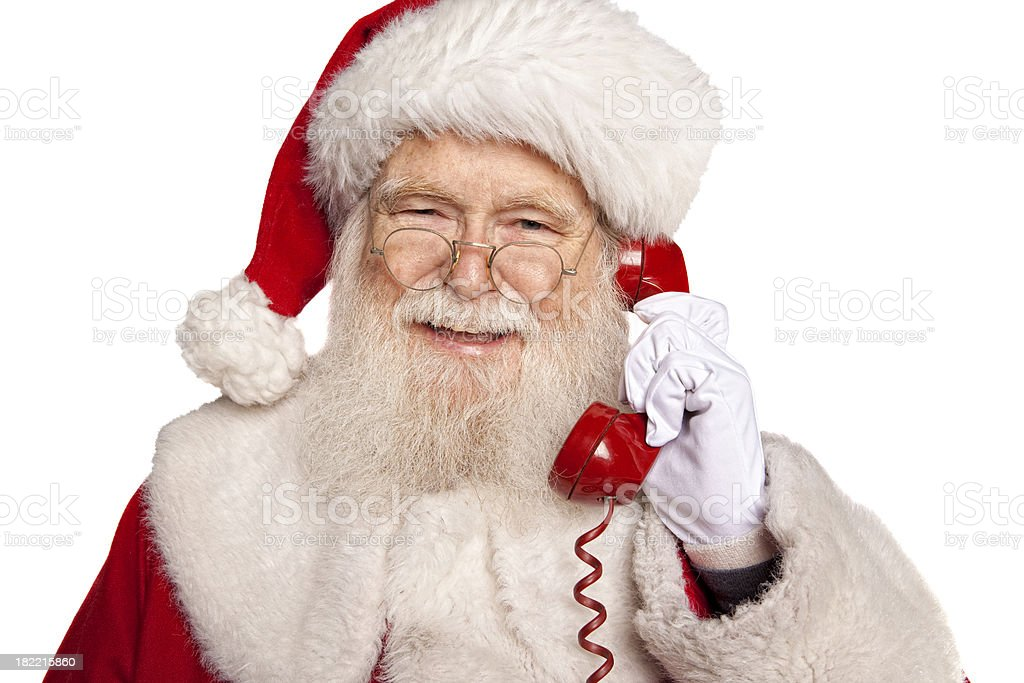 Pictures of Real Santa Claus on the Telephone royalty-free stock photo