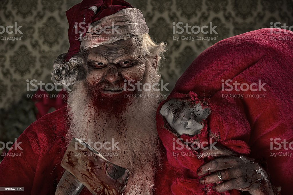 Pictures of Real Santa Zombie with victims stock photo