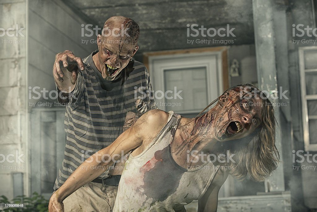 Pictures of Real Zombies coming from old abandoned house royalty-free stock photo