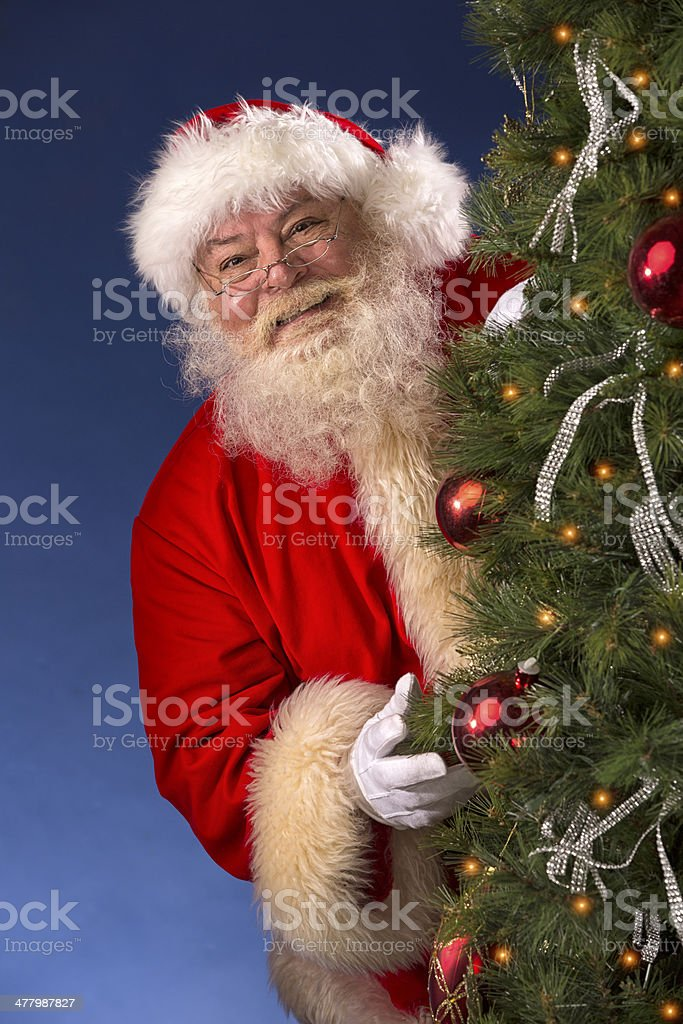 Pictures of Vintage Real Santa Claus behind Christmas Tre royalty-free stock photo