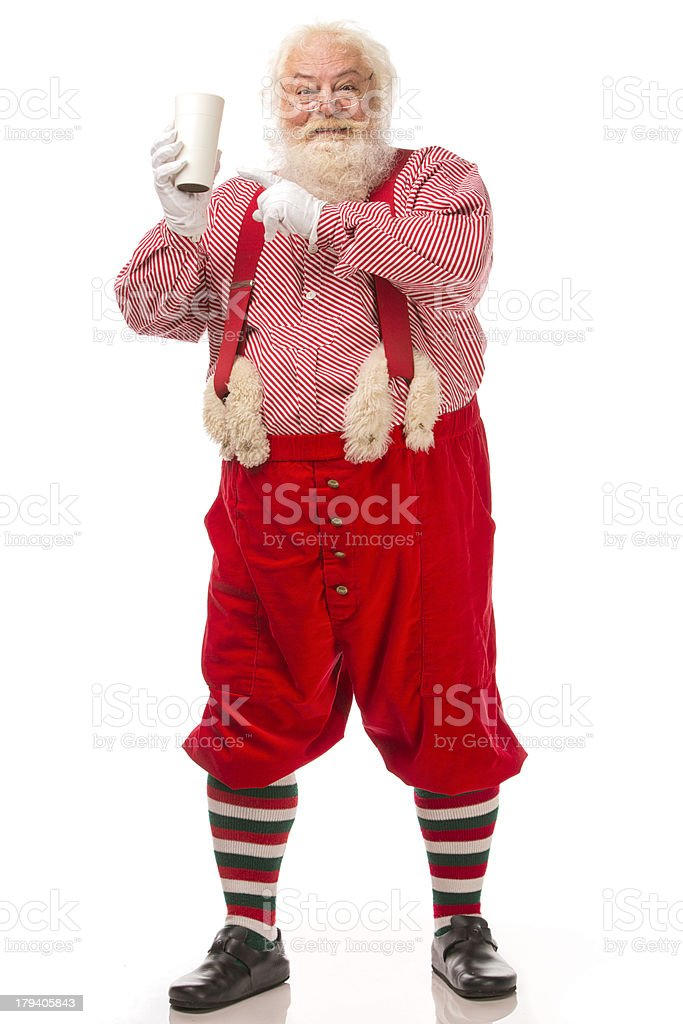 Pictures of Vintage Real Santa Claus holding coffee cup royalty-free stock photo