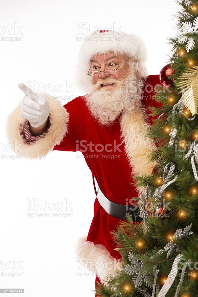 Pictures of Vintage Real Santa Claus pointing royalty-free stock photo