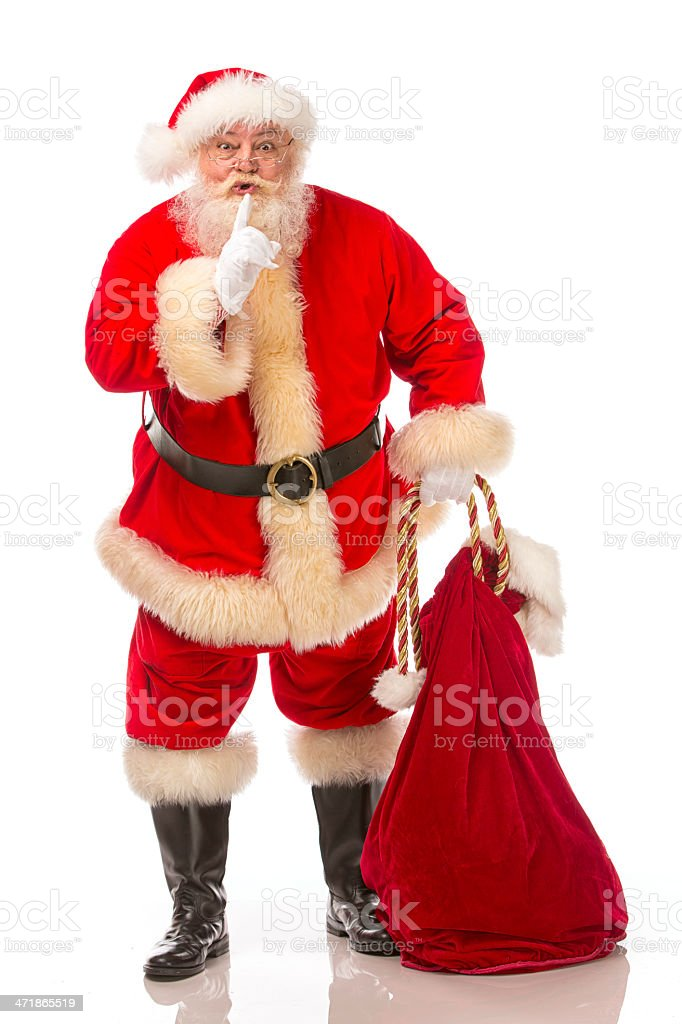 Pictures of Vintage Real Santa Claus saying ssh royalty-free stock photo