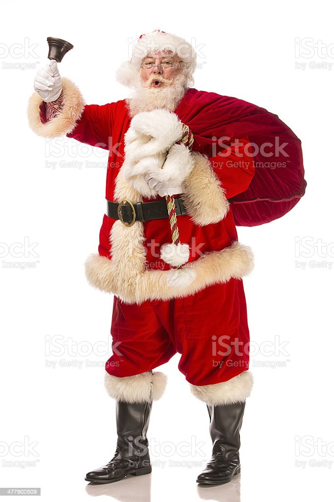 Pictures of Vintage Real Santa Claus shaking a hand bell royalty-free stock photo