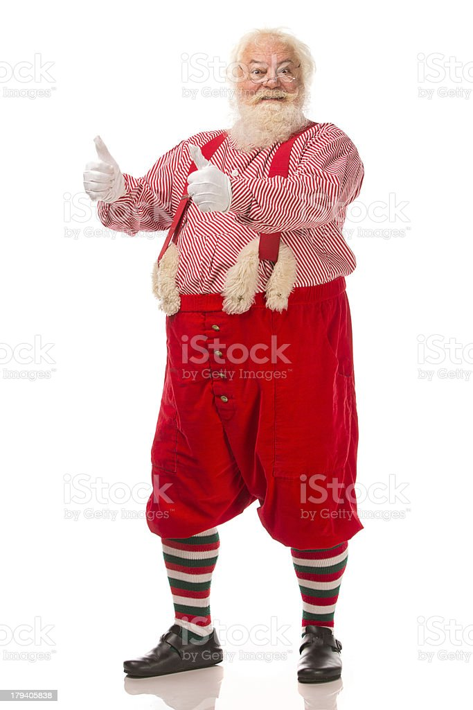 Pictures of Vintage Real Santa Claus two thumbs up royalty-free stock photo