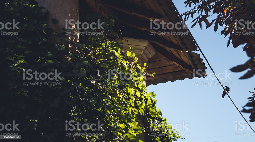 Picturesque attic of an old Italian house stock photo