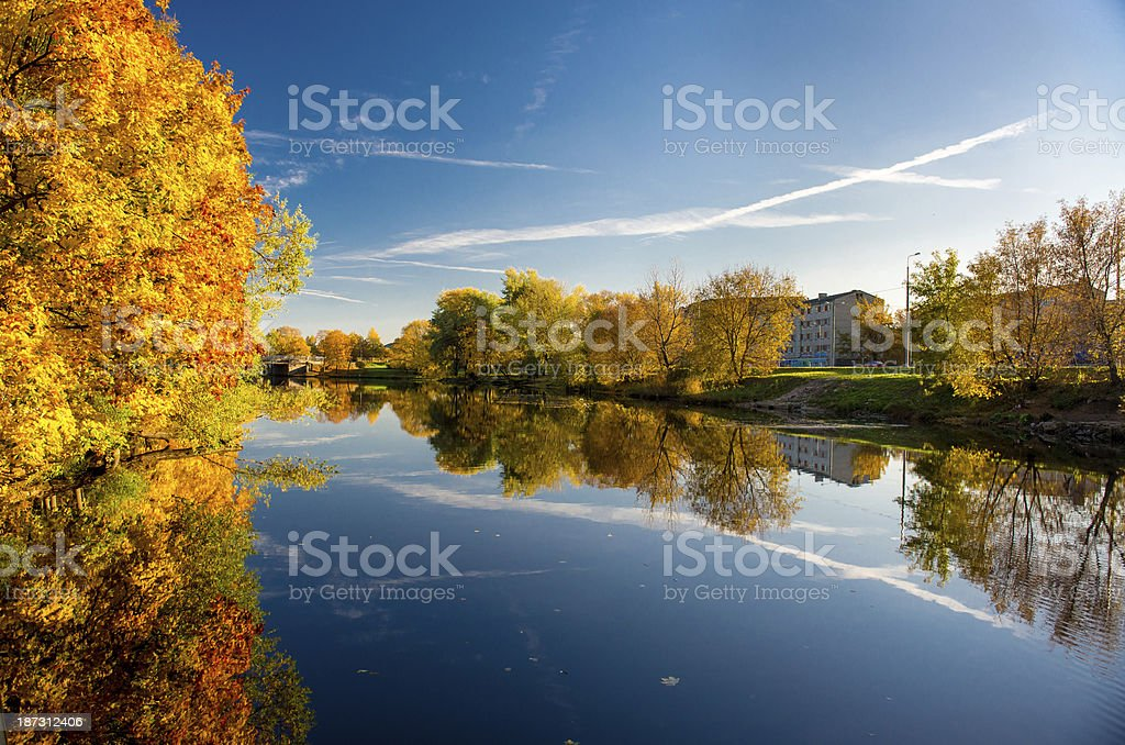 Picturesque autumn landscape. Riga, Latvia royalty-free stock photo