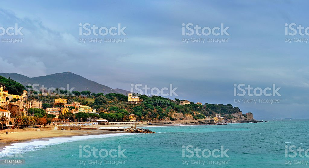 picturesque bay Celle Ligure, Italy stock photo