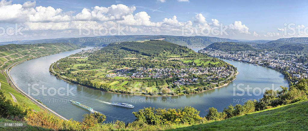 Picturesque bend of the river Rhine near Filsen stock photo