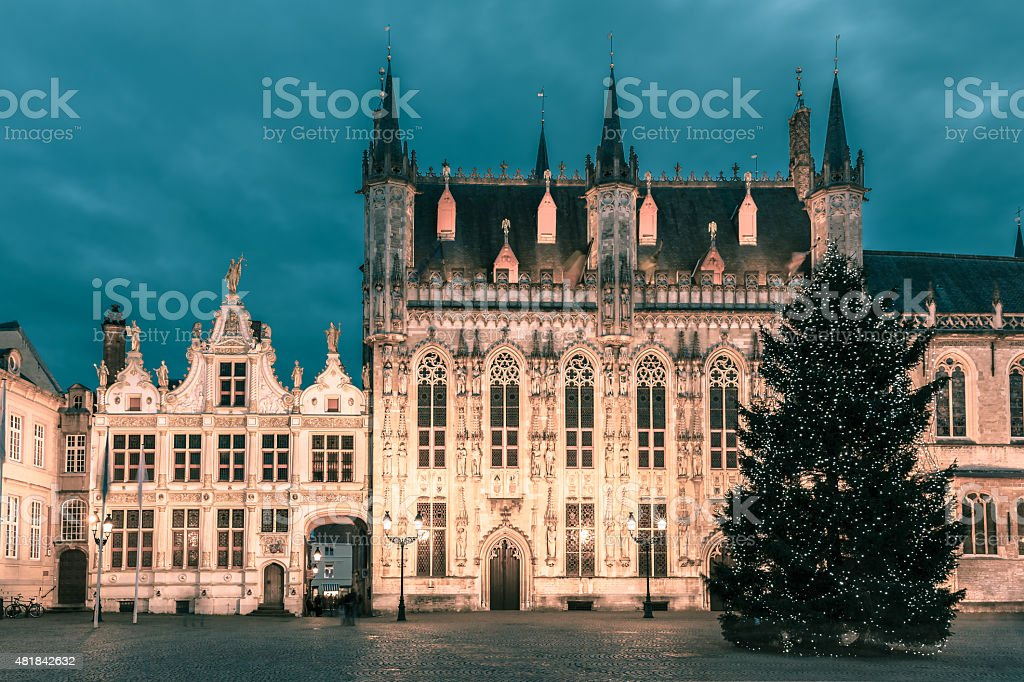 Picturesque Christmas Burg Square in Bruges stock photo