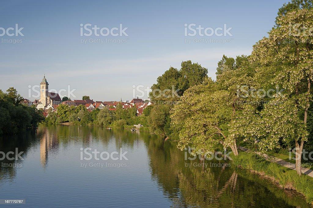 Picturesque city Nürtingen at river Neckar stock photo