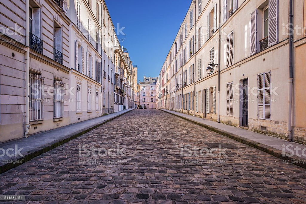 Picturesque cobbled street in Paris, France stock photo